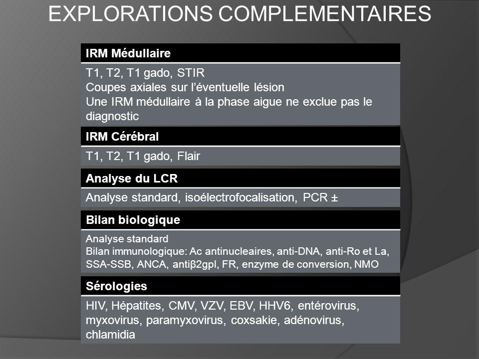 EXPLORATIONS COMPLEMENTAIRES IRM Médullaire T1, T2, T1 gado, STIR Coupes axiales sur léventuelle lésion Une IRM médullaire à la phase aigue ne exclue