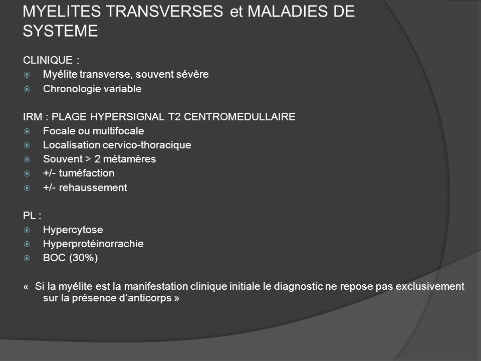 MYELITES TRANSVERSES et MALADIES DE SYSTEME CLINIQUE : Myélite transverse, souvent sévère Chronologie variable IRM : PLAGE HYPERSIGNAL T2 CENTROMEDULL