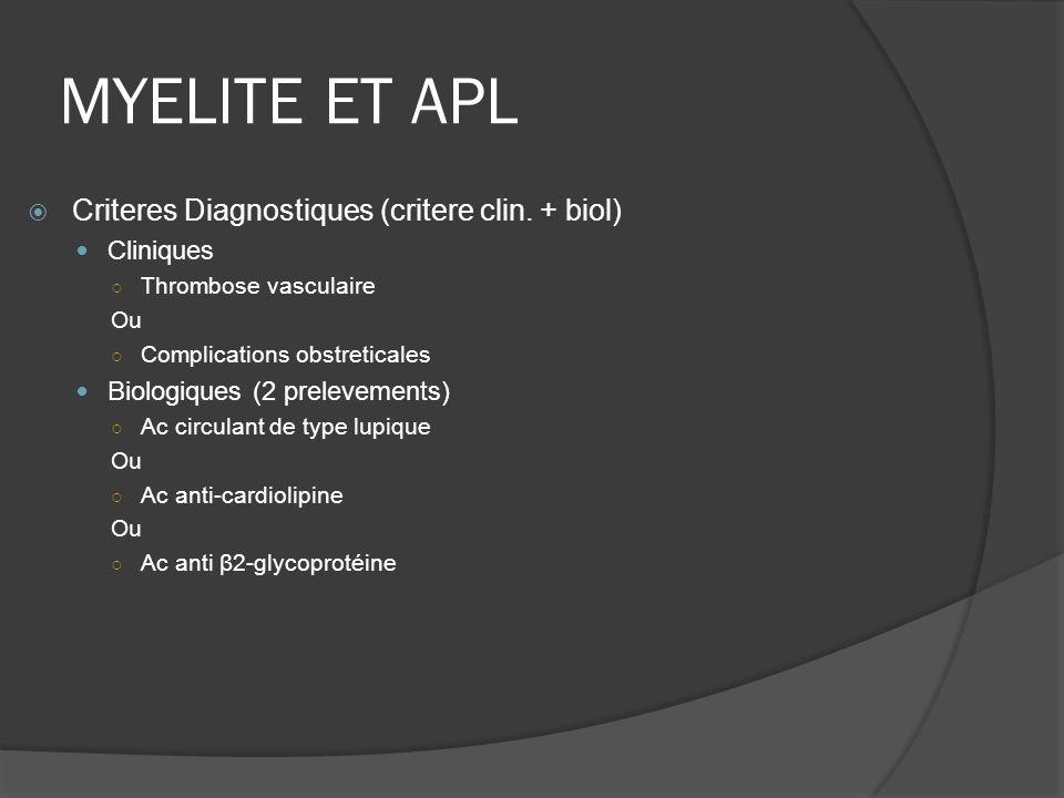 MYELITE ET APL Criteres Diagnostiques (critere clin. + biol) Cliniques Thrombose vasculaire Ou Complications obstreticales Biologiques (2 prelevements