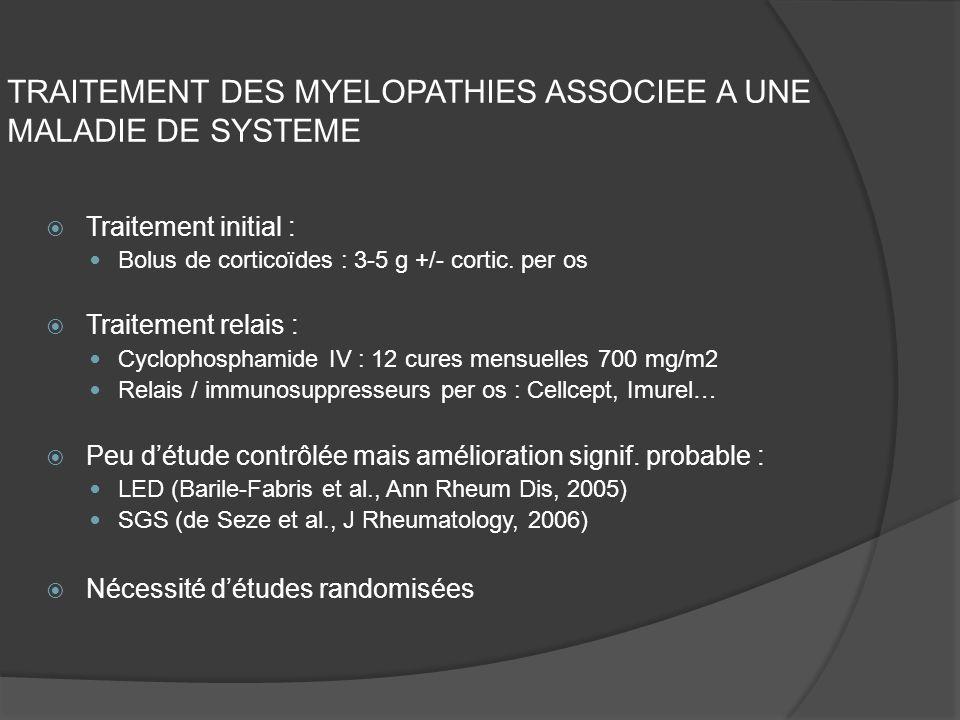 TRAITEMENT DES MYELOPATHIES ASSOCIEE A UNE MALADIE DE SYSTEME Traitement initial : Bolus de corticoïdes : 3-5 g +/- cortic. per os Traitement relais :