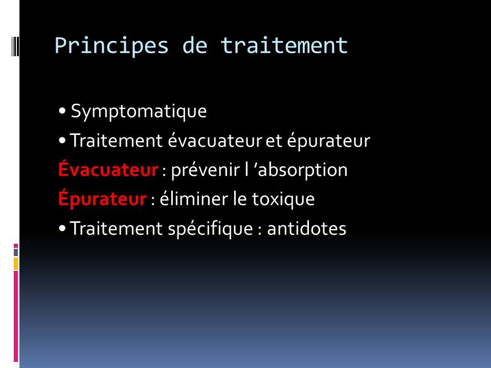 Principes de traitement Symptomatique Traitement évacuateur et épurateur Évacuateur : prévenir l absorption Épurateur : éliminer le toxique Traitement
