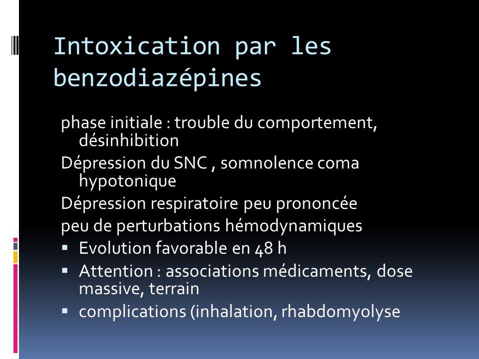Intoxication par les benzodiazépines phase initiale : trouble du comportement, désinhibition Dépression du SNC, somnolence coma hypotonique Dépression