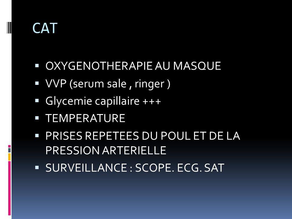CAT OXYGENOTHERAPIE AU MASQUE VVP (serum sale, ringer ) Glycemie capillaire +++ TEMPERATURE PRISES REPETEES DU POUL ET DE LA PRESSION ARTERIELLE SURVE