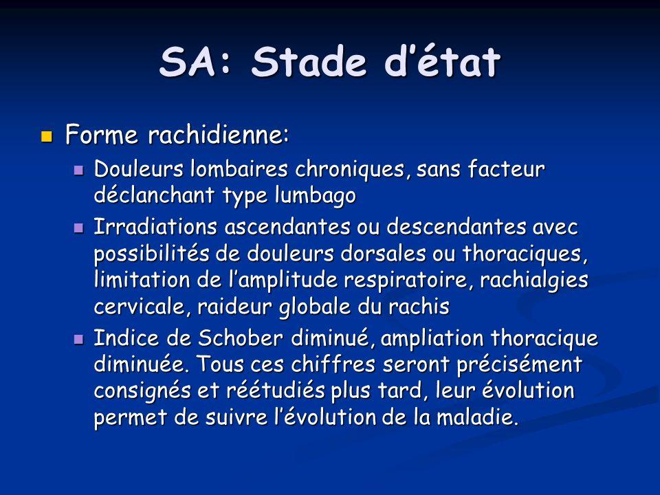 SA: Stade détat Forme rachidienne: Forme rachidienne: Douleurs lombaires chroniques, sans facteur déclanchant type lumbago Douleurs lombaires chroniqu
