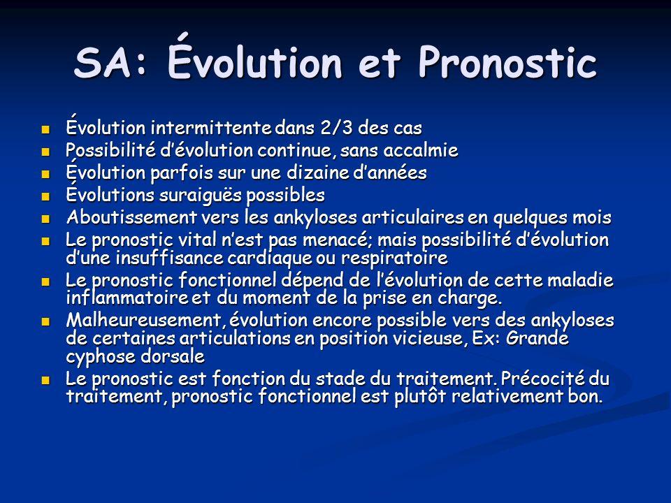 SA: Évolution et Pronostic Évolution intermittente dans 2/3 des cas Évolution intermittente dans 2/3 des cas Possibilité dévolution continue, sans acc