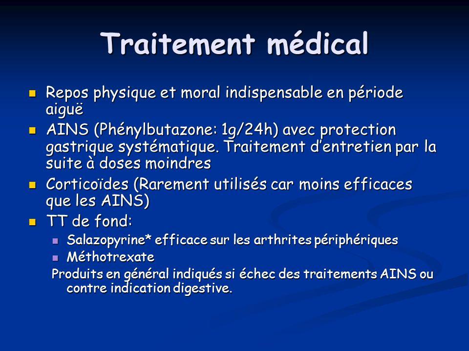 Traitement médical Repos physique et moral indispensable en période aiguë Repos physique et moral indispensable en période aiguë AINS (Phénylbutazone: