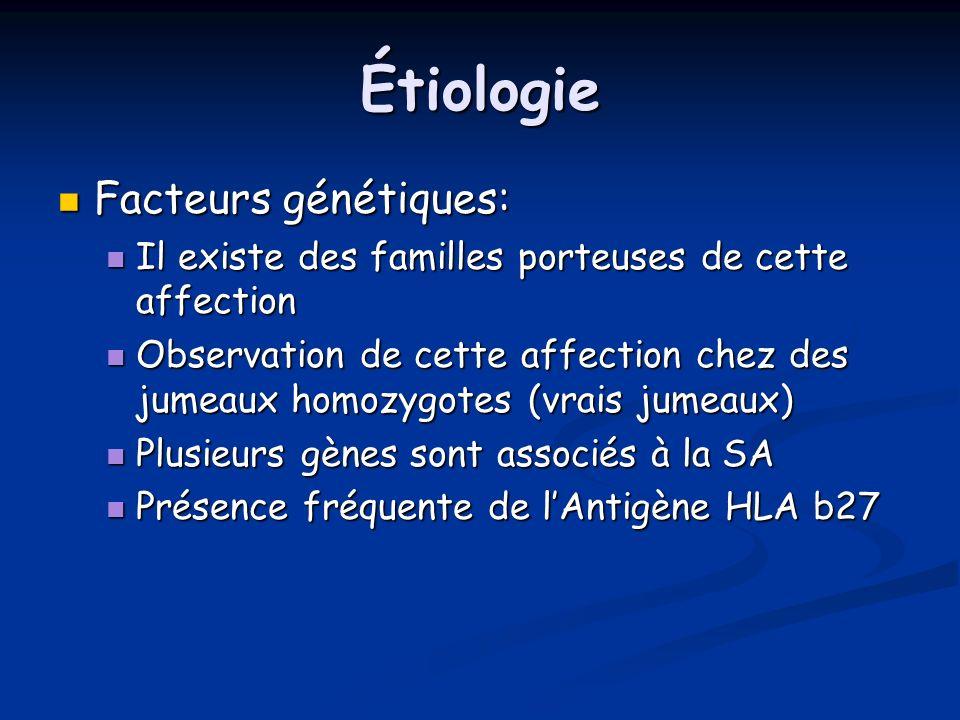 Étiologie Facteurs génétiques: Facteurs génétiques: Il existe des familles porteuses de cette affection Il existe des familles porteuses de cette affe