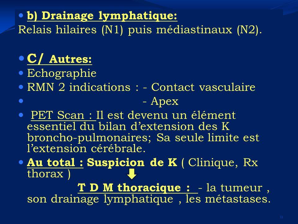 b) Drainage lymphatique: Relais hilaires (N1) puis médiastinaux (N2). C/ Autres: Echographie RMN 2 indications : - Contact vasculaire - Apex PET Scan