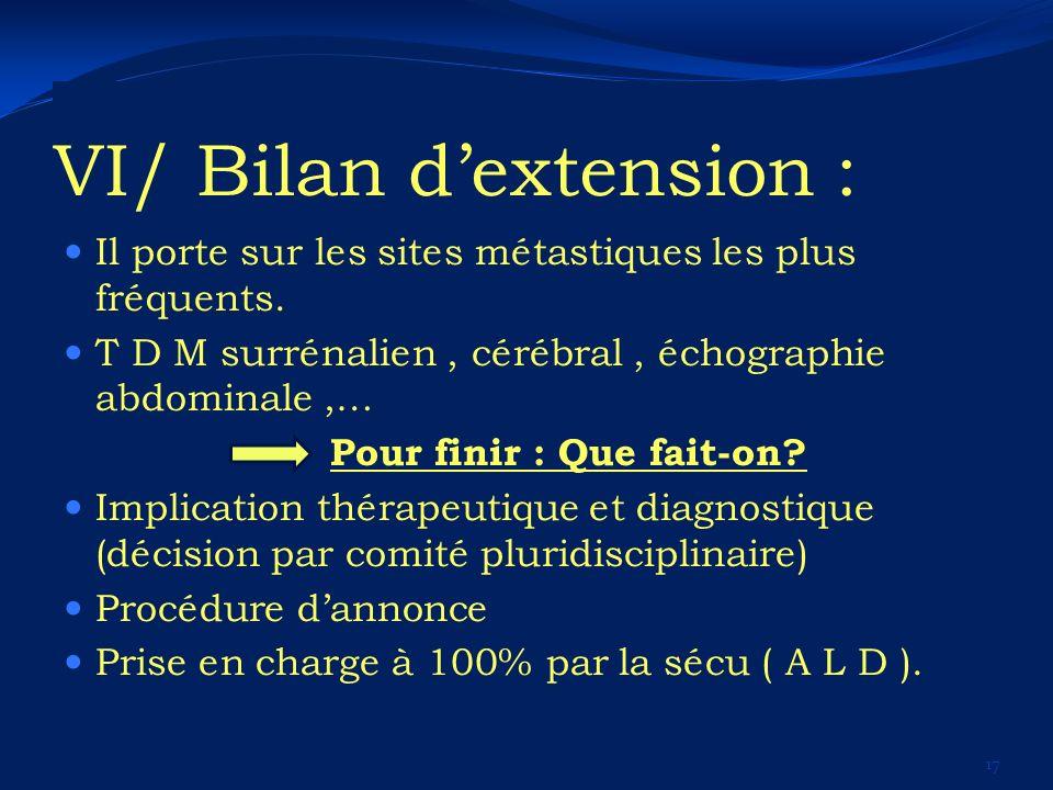 VI/ Bilan dextension : Il porte sur les sites métastiques les plus fréquents. T D M surrénalien, cérébral, échographie abdominale,… Pour finir : Que f