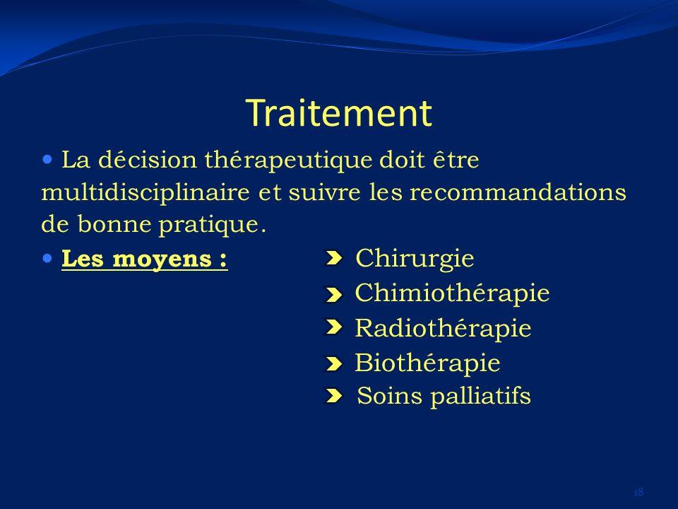 Traitement La décision thérapeutique doit être multidisciplinaire et suivre les recommandations de bonne pratique. Les moyens : Chirurgie Chimiothérap