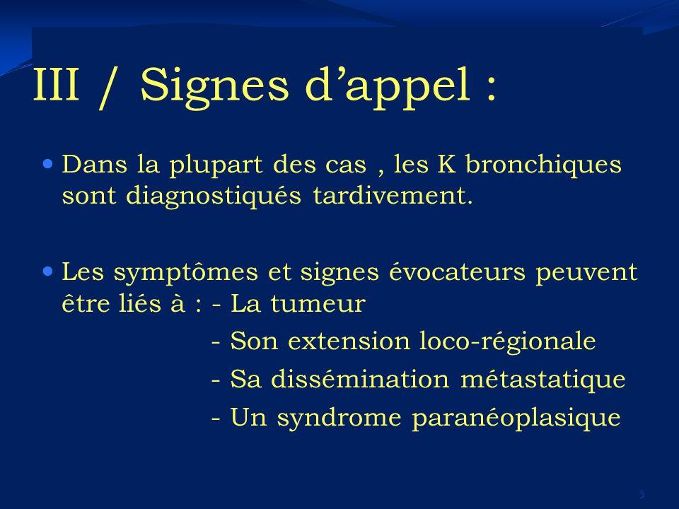 III / Signes dappel : Dans la plupart des cas, les K bronchiques sont diagnostiqués tardivement. Les symptômes et signes évocateurs peuvent être liés