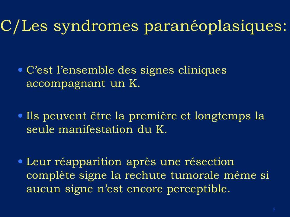 C/Les syndromes paranéoplasiques: Cest lensemble des signes cliniques accompagnant un K. Ils peuvent être la première et longtemps la seule manifestat