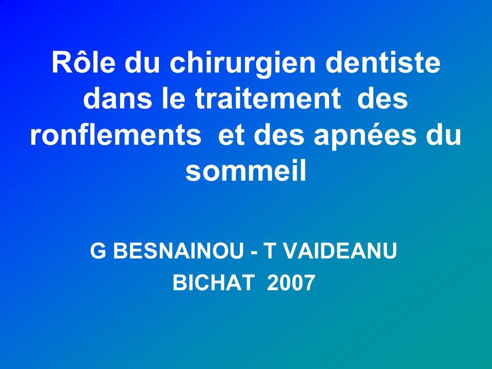 Rôle du chirurgien dentiste dans le traitement des ronflements et des apnées du sommeil G BESNAINOU - T VAIDEANU BICHAT 2007