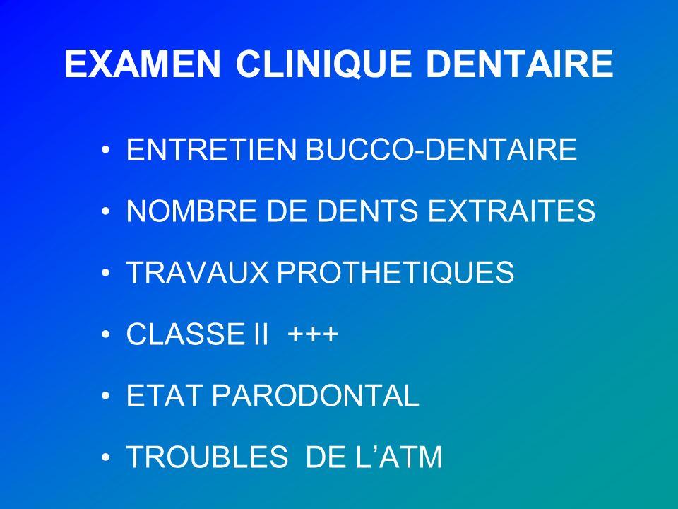 EXAMEN CLINIQUE DENTAIRE ENTRETIEN BUCCO-DENTAIRE NOMBRE DE DENTS EXTRAITES TRAVAUX PROTHETIQUES CLASSE II +++ ETAT PARODONTAL TROUBLES DE LATM