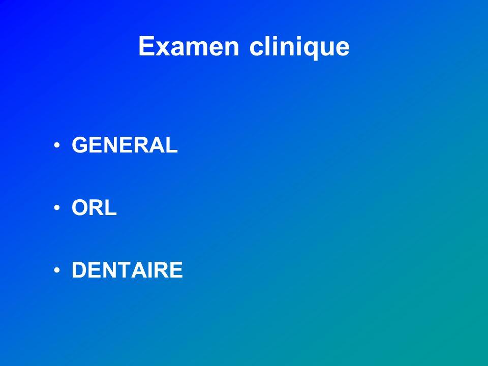 Examen clinique GENERAL ORL DENTAIRE