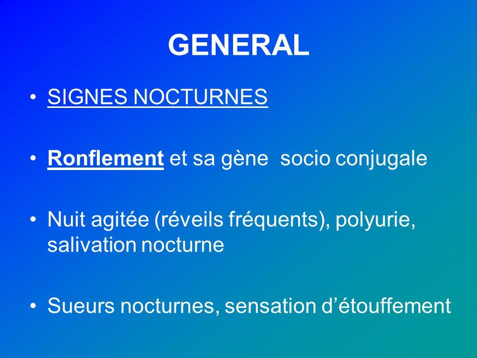GENERAL SIGNES NOCTURNES Ronflement et sa gène socio conjugale Nuit agitée (réveils fréquents), polyurie, salivation nocturne Sueurs nocturnes, sensat