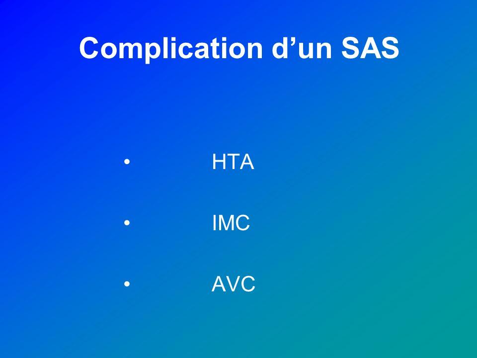 Complication dun SAS HTA IMC AVC