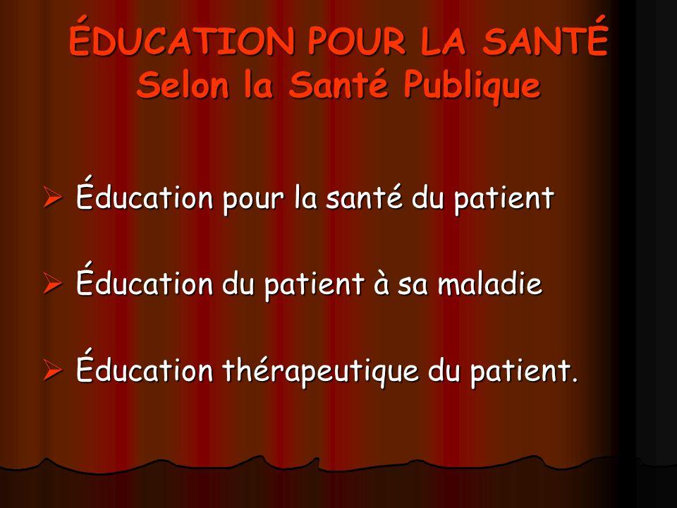 ÉDUCATION POUR LA SANTÉ Selon la Santé Publique Éducation pour la santé du patient Éducation pour la santé du patient Éducation du patient à sa maladi