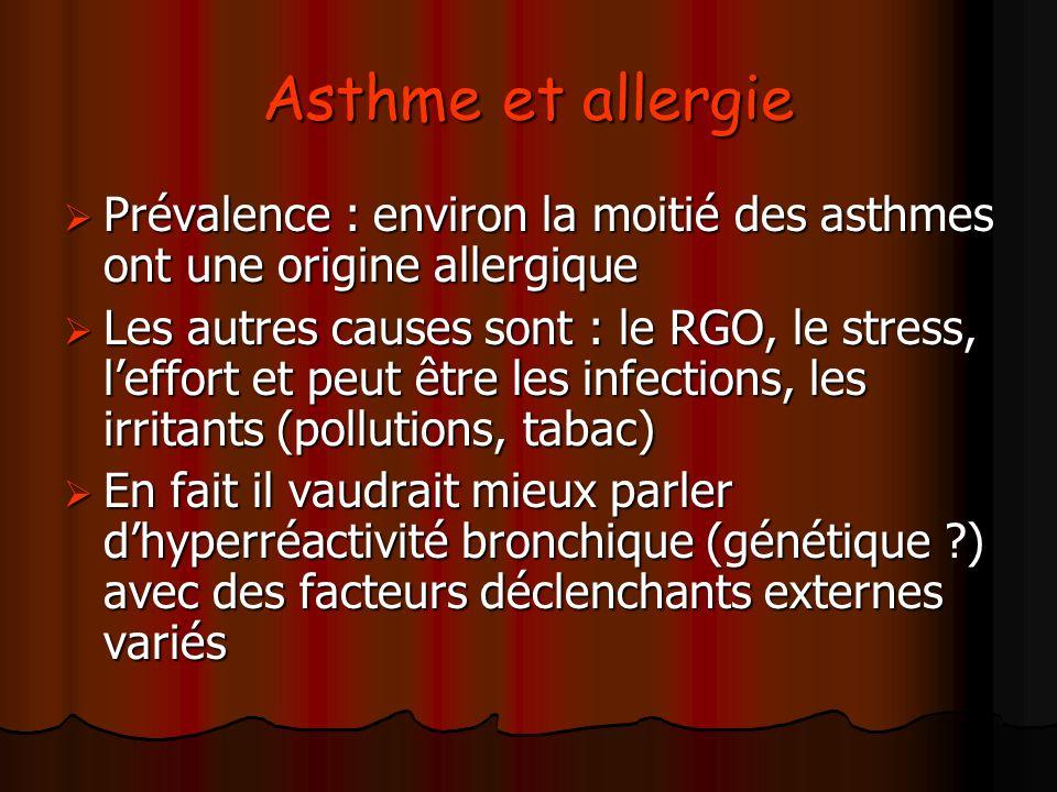 Asthme et allergie Prévalence : environ la moitié des asthmes ont une origine allergique Prévalence : environ la moitié des asthmes ont une origine al