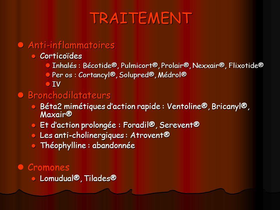TRAITEMENT Anti-inflammatoires Anti-inflammatoires Corticoïdes Corticoïdes Inhalés : Bécotide®, Pulmicort®, Prolair®, Nexxair®, Flixotide® Inhalés : B
