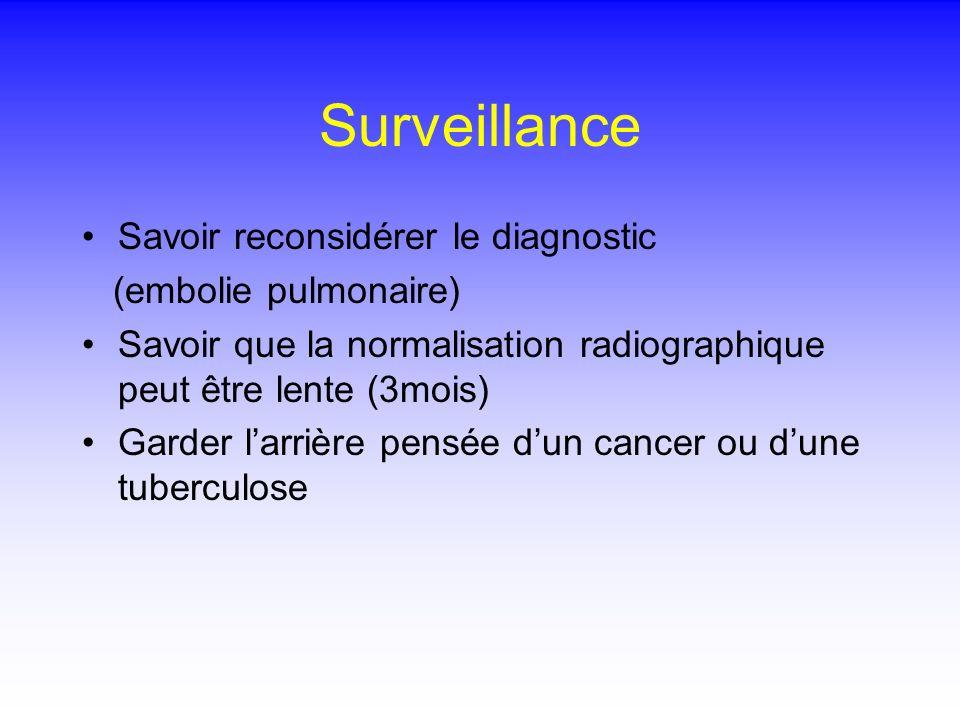 Surveillance Savoir reconsidérer le diagnostic (embolie pulmonaire) Savoir que la normalisation radiographique peut être lente (3mois) Garder larrière