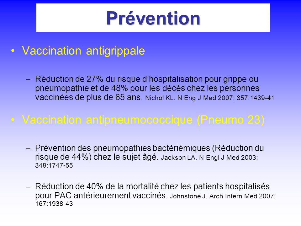 Prévention Vaccination antigrippale –Réduction de 27% du risque dhospitalisation pour grippe ou pneumopathie et de 48% pour les décès chez les personn