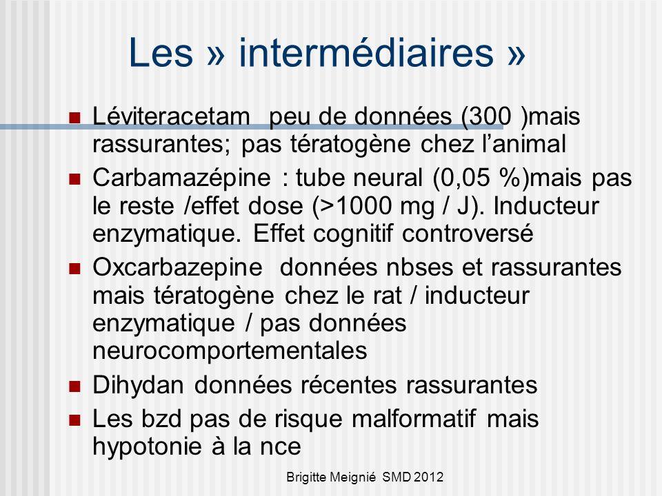 Brigitte Meignié SMD 2012 Les » intermédiaires » Léviteracetam peu de données (300 )mais rassurantes; pas tératogène chez lanimal Carbamazépine : tube