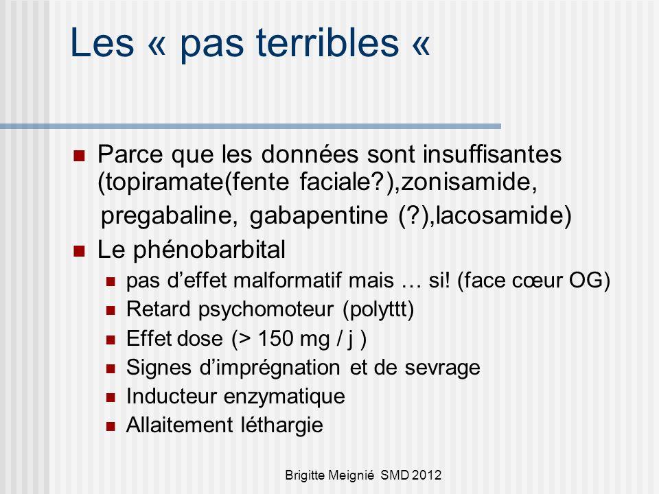 Brigitte Meignié SMD 2012 Les « pas terribles « Parce que les données sont insuffisantes (topiramate(fente faciale?),zonisamide, pregabaline, gabapentine (?),lacosamide) Le phénobarbital pas deffet malformatif mais … si.