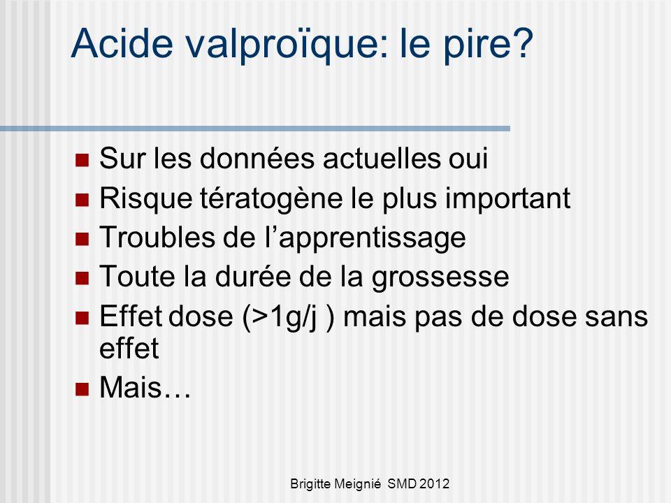 Brigitte Meignié SMD 2012 Acide valproïque: le pire? Sur les données actuelles oui Risque tératogène le plus important Troubles de lapprentissage Tout