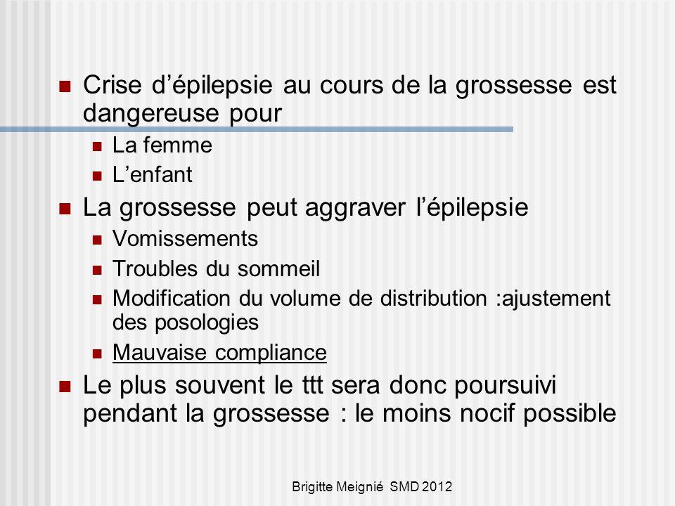 Brigitte Meignié SMD 2012 Risque malformatif MCM :2,5% dans la population générale 4 à 8 % chez les F E 3 % chez les F E non traitées Le risque principal : le traitement Risque non homogène Type de traitement Dose Mono/poly thérapie Antcd familiaux : prédisposition génétique .