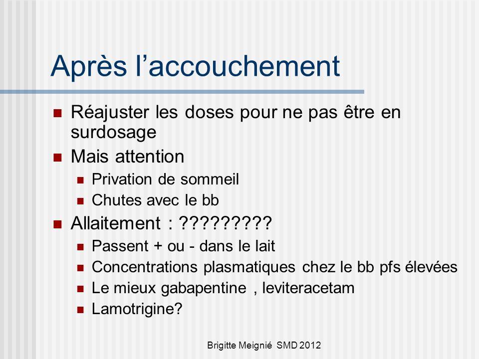 Brigitte Meignié SMD 2012 Après laccouchement Réajuster les doses pour ne pas être en surdosage Mais attention Privation de sommeil Chutes avec le bb Allaitement : ????????.