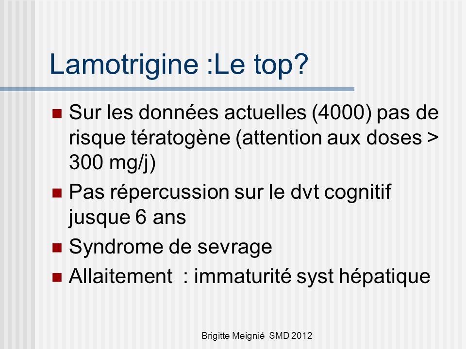 Brigitte Meignié SMD 2012 Les » intermédiaires » Léviteracetam peu de données (300 )mais rassurantes; pas tératogène chez lanimal Carbamazépine : tube neural (0,05 %)mais pas le reste /effet dose (>1000 mg / J).