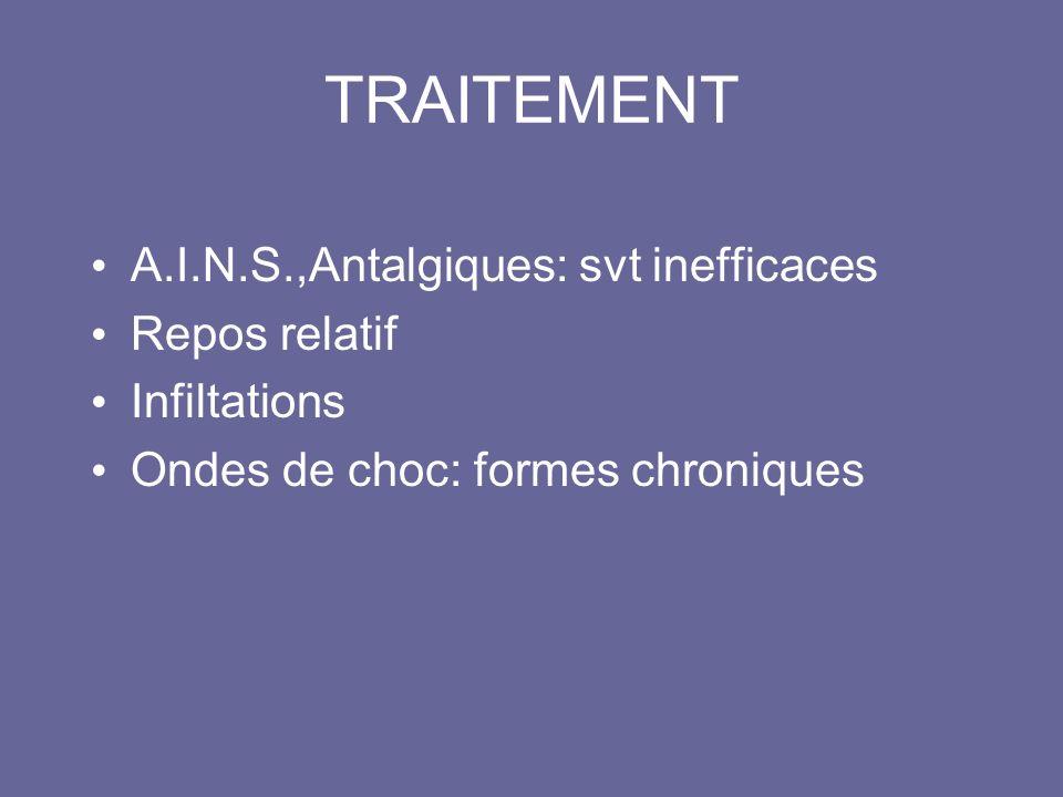 TRAITEMENT A.I.N.S.,Antalgiques: svt inefficaces Repos relatif Infiltations Ondes de choc: formes chroniques