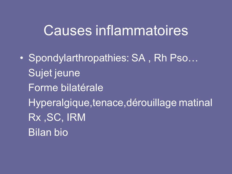 Causes inflammatoires Spondylarthropathies: SA, Rh Pso… Sujet jeune Forme bilatérale Hyperalgique,tenace,dérouillage matinal Rx,SC, IRM Bilan bio