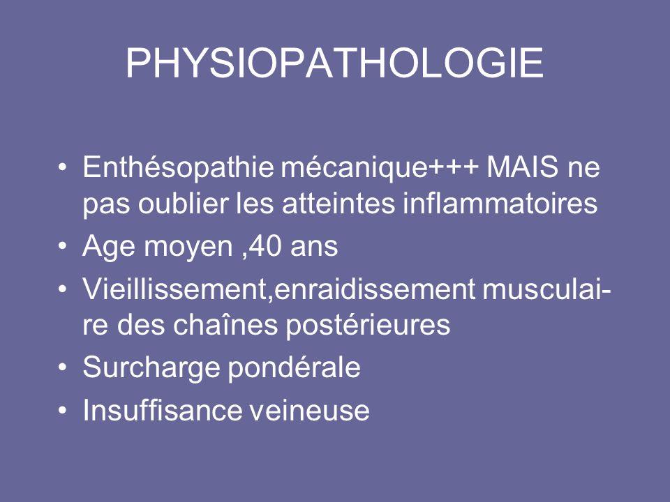 PHYSIOPATHOLOGIE Enthésopathie mécanique+++ MAIS ne pas oublier les atteintes inflammatoires Age moyen,40 ans Vieillissement,enraidissement musculai- re des chaînes postérieures Surcharge pondérale Insuffisance veineuse