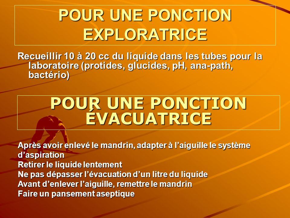 POUR UNE PONCTION EXPLORATRICE Recueillir 10 à 20 cc du liquide dans les tubes pour la laboratoire (protides, glucides, pH, ana-path, bactério) POUR U