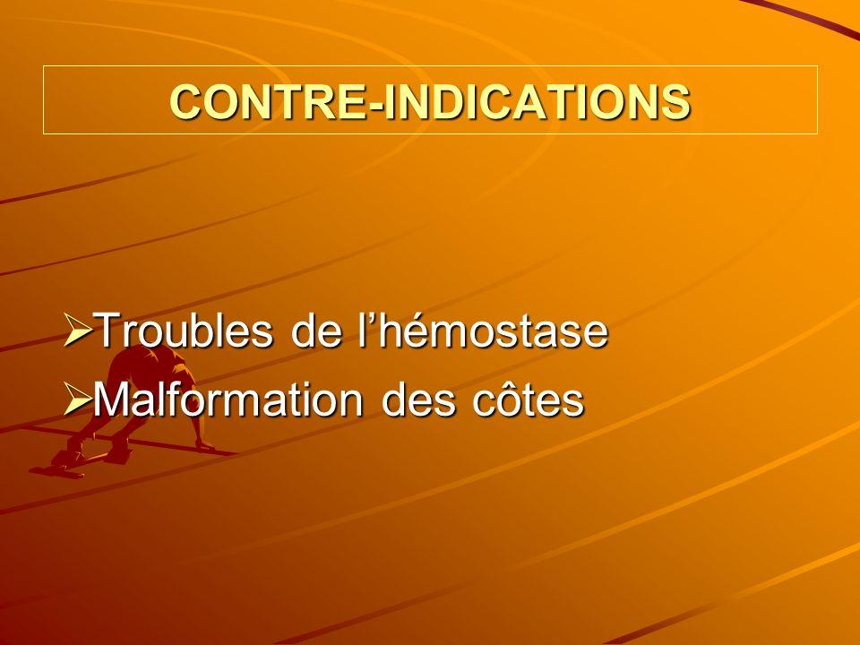 CONTRE-INDICATIONS Troubles de lhémostase Troubles de lhémostase Malformation des côtes Malformation des côtes