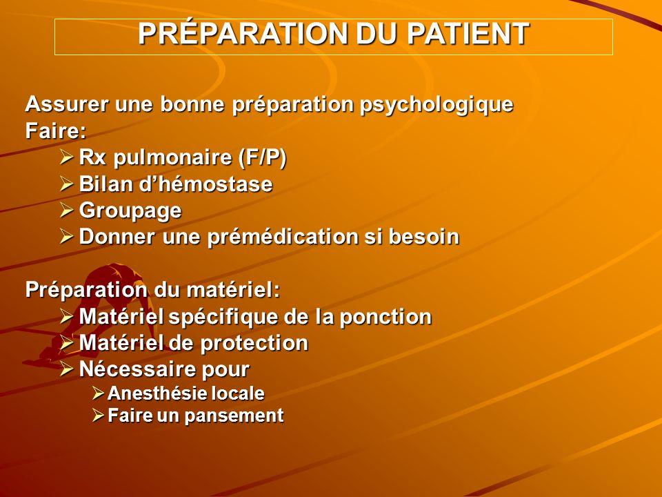 Assurer une bonne préparation psychologique Faire: Rx pulmonaire (F/P) Rx pulmonaire (F/P) Bilan dhémostase Bilan dhémostase Groupage Groupage Donner