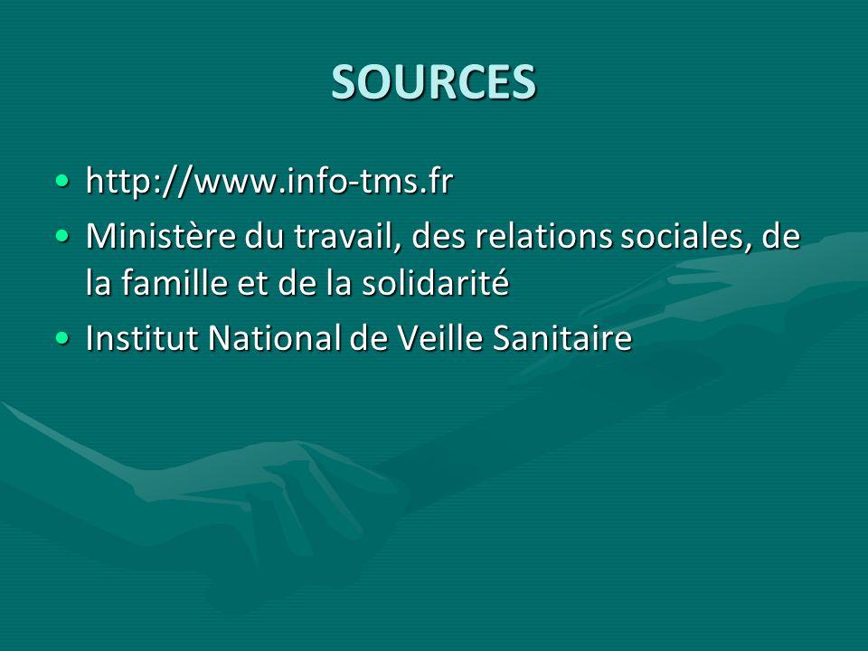 SOURCES http://www.info-tms.frhttp://www.info-tms.fr Ministère du travail, des relations sociales, de la famille et de la solidaritéMinistère du trava