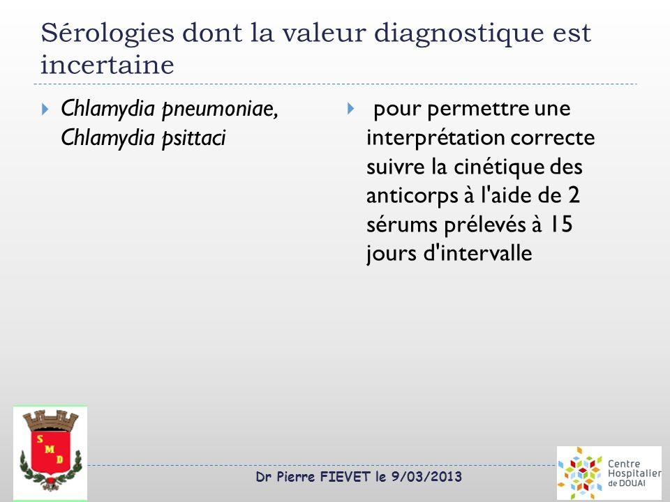 Dr Pierre FIEVET le 9/03/2013 Sérologies dont la valeur diagnostique est incertaine Chlamydia pneumoniae, Chlamydia psittaci pour permettre une interp