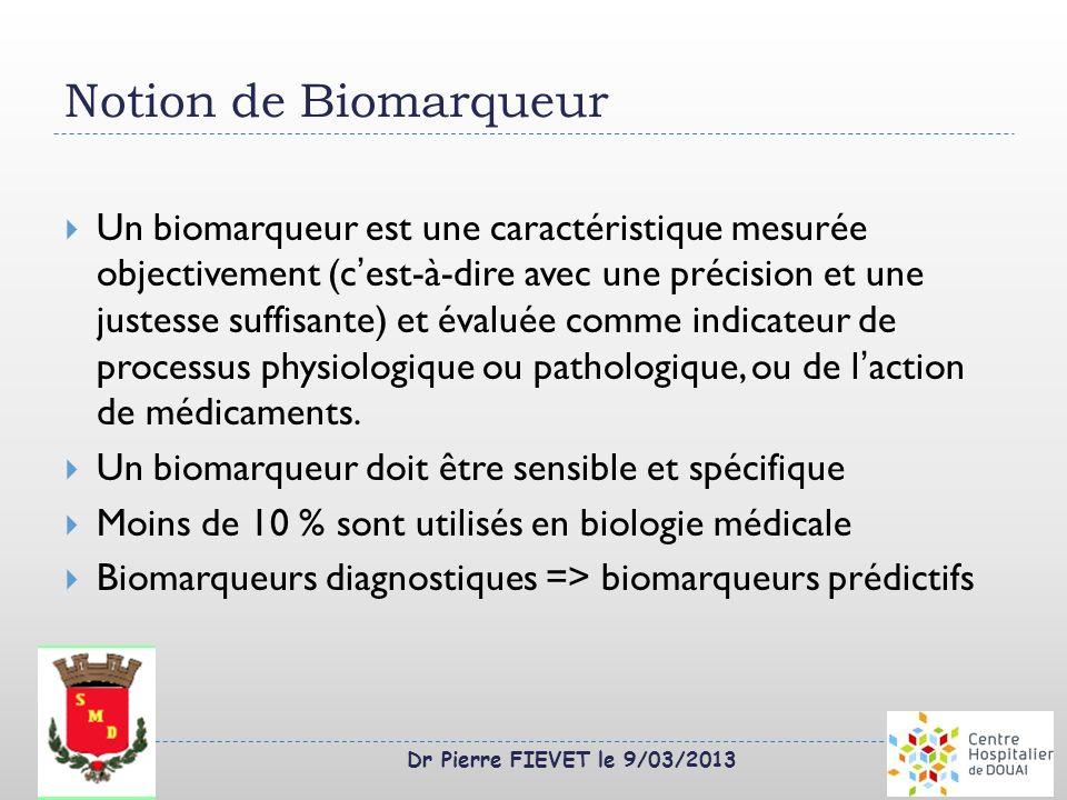 Dr Pierre FIEVET le 9/03/2013 Notion de Biomarqueur Un biomarqueur est une caractéristique mesurée objectivement (cest-à-dire avec une précision et un