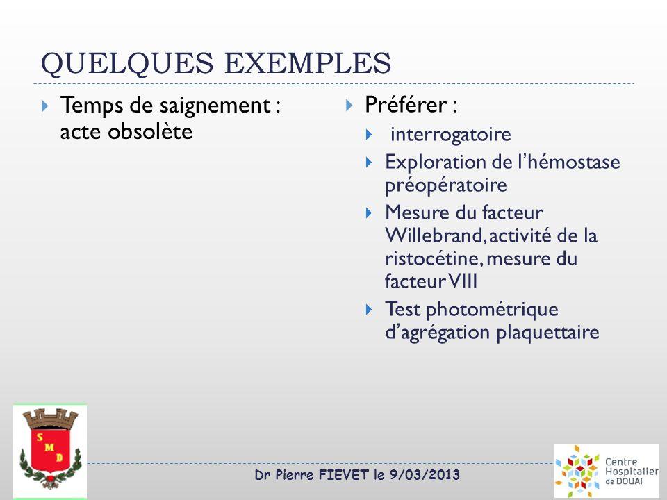 Dr Pierre FIEVET le 9/03/2013 QUELQUES EXEMPLES Temps de saignement : acte obsolète Préférer : interrogatoire Exploration de lhémostase préopératoire