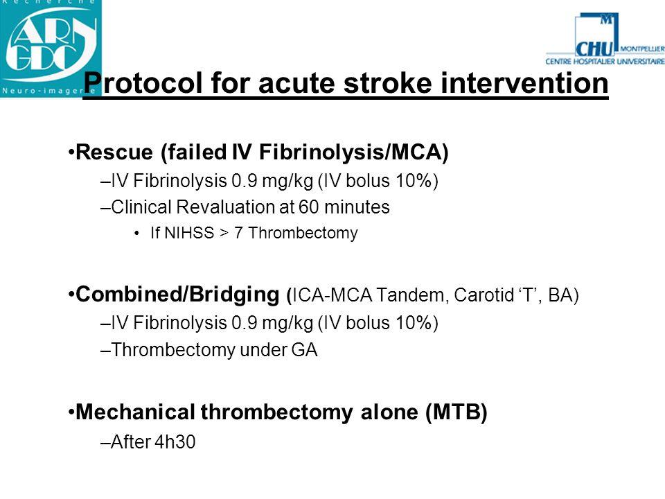 Protocol for acute stroke intervention Rescue (failed IV Fibrinolysis/MCA) –IV Fibrinolysis 0.9 mg/kg (IV bolus 10%) –Clinical Revaluation at 60 minut