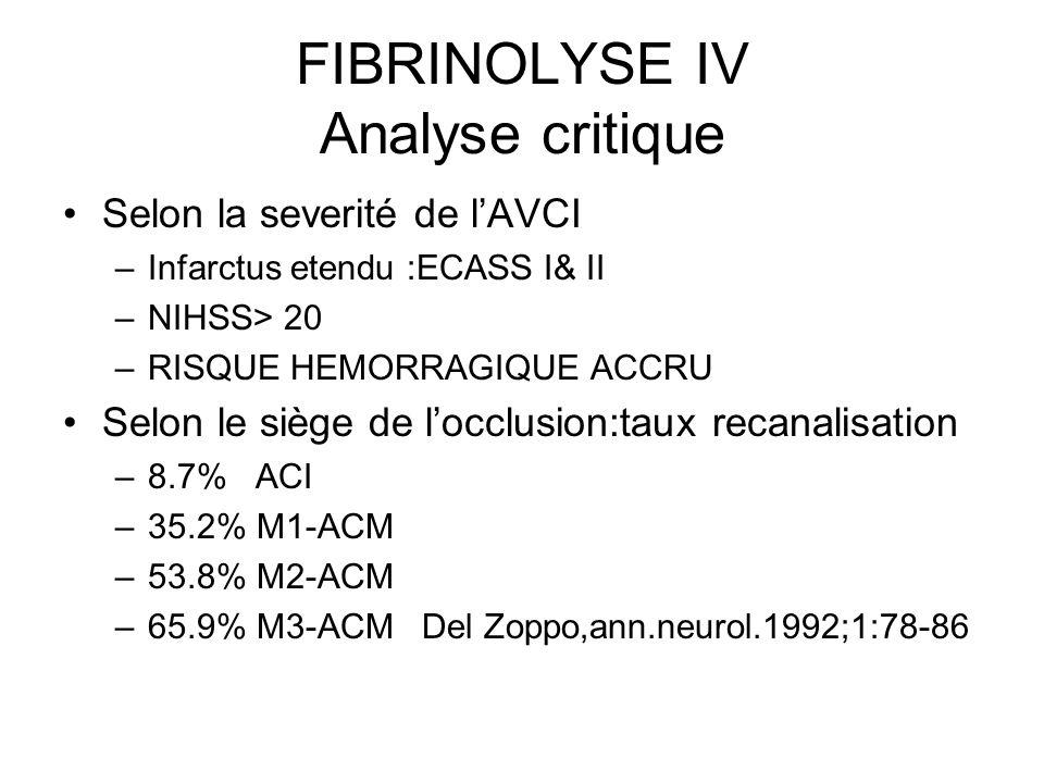 FIBRINOLYSE IV Analyse critique Selon la severité de lAVCI –Infarctus etendu :ECASS I& II –NIHSS> 20 –RISQUE HEMORRAGIQUE ACCRU Selon le siège de locc