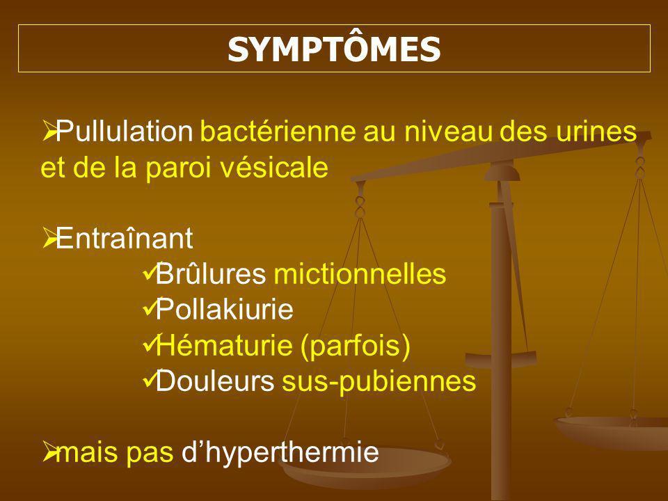 DES MÉCANISMES PHYSIOLOGIQUES SOPPOSENT À LINFECTION PH de la muqueuse acide PH de la muqueuse acide Muqueuse normale défavorable à ladhérence Muqueuse normale défavorable à ladhérence Vidange régulière de la vessie Vidange régulière de la vessie Défense immunologique Défense immunologique
