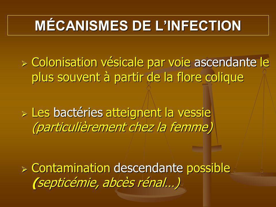 -Facteurs dadhérence de la souche: particulièrement Escherichia coli FACTEURS FAVORISANTS -Reflux urinaire massif, stase, obstructions (tumeur, lithiase), grossesse, prostatite… -Sondages itératifs, sondage à demeure