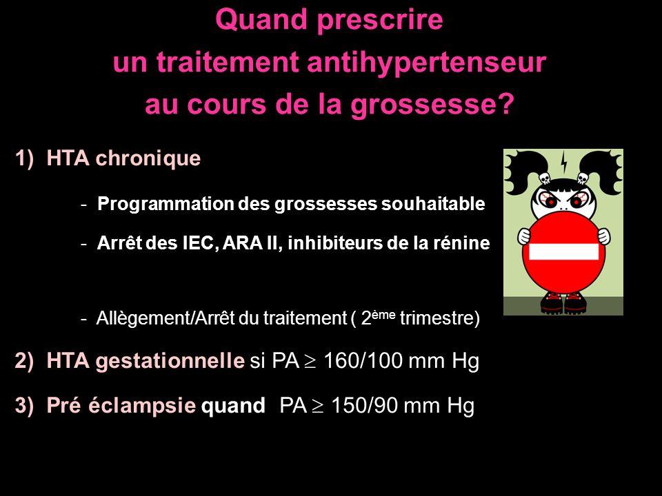 Quand prescrire un traitement antihypertenseur au cours de la grossesse? 1) HTA chronique - Programmation des grossesses souhaitable - Arrêt des IEC,