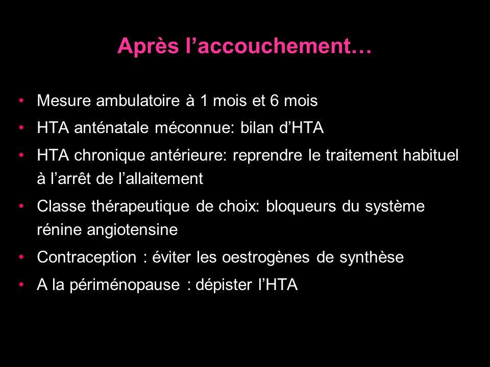 Après laccouchement… Mesure ambulatoire à 1 mois et 6 mois HTA anténatale méconnue: bilan dHTA HTA chronique antérieure: reprendre le traitement habit