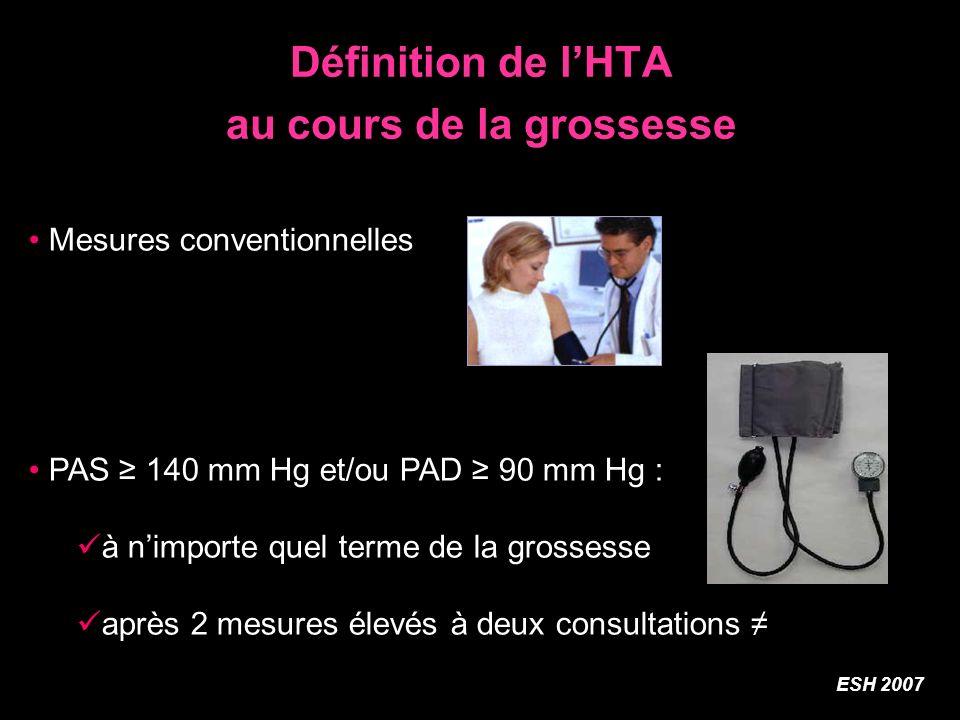 Définition de lHTA au cours de la grossesse Mesures conventionnelles PAS 140 mm Hg et/ou PAD 90 mm Hg : à nimporte quel terme de la grossesse après 2