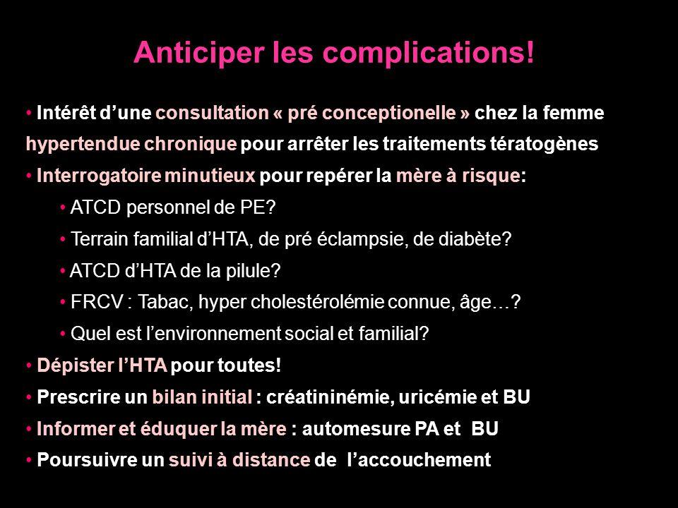 Anticiper les complications! Intérêt dune consultation « pré conceptionelle » chez la femme hypertendue chronique pour arrêter les traitements tératog